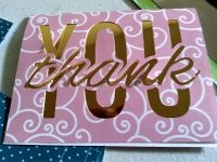 Pink and Gold foil simple thank you card