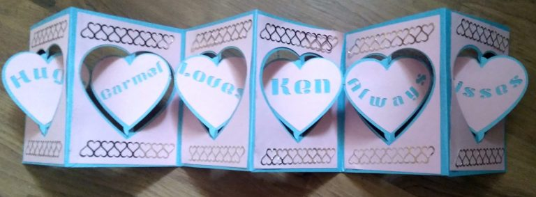 Other side of 6 panel Accordion Valentines Card