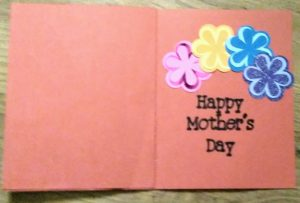 Inside view of Pop out Mothers Day card
