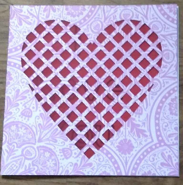 Pink and Red Lattice Cut Card