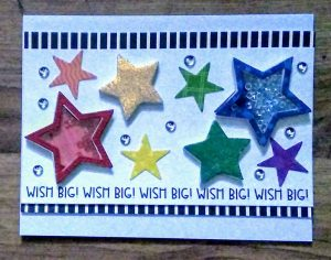 Star Shaker Card I made in the Queen & Co. class