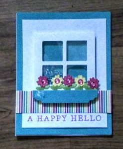 Shaker window card I made in the Queen and Company Class
