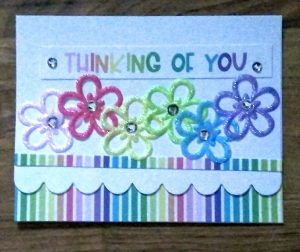 Flower card I made in the Queen & Co class at St Louis CKC