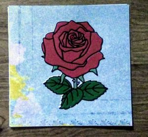 Coloring with paper rose card I made in class