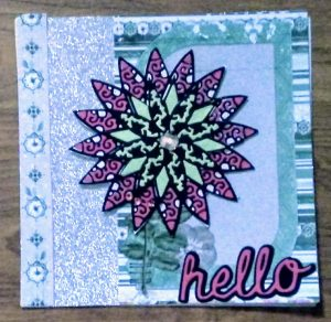 Coloring with paper flower card I made in class at St Louis CKC