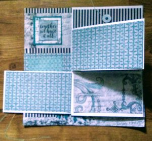 Scrapbook page with fold down album open