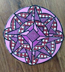 Coloring with Paper pink mandala