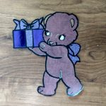 Present Bear coloring with paper embellishment