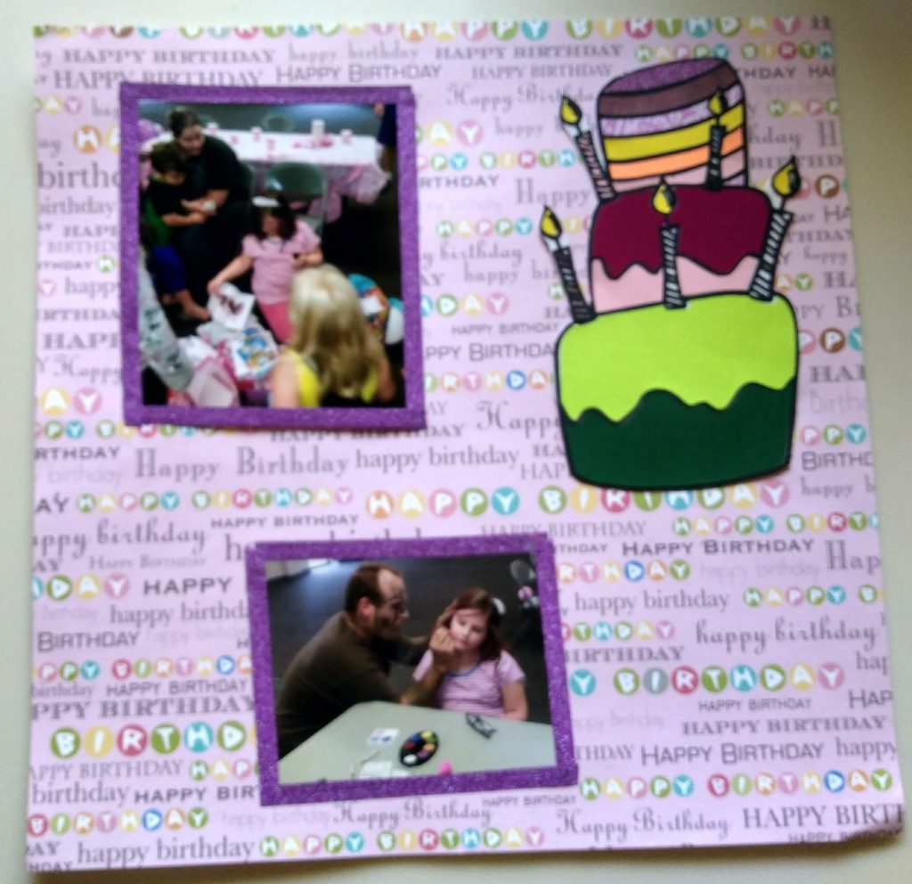scrapbook page using birthday cake by coloring with paper