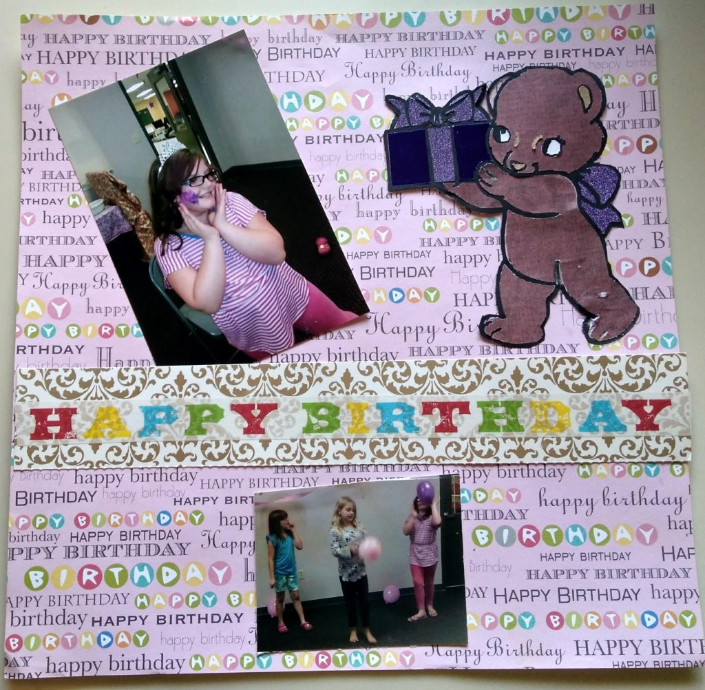 scrapbook page using present bear by coloring with paper