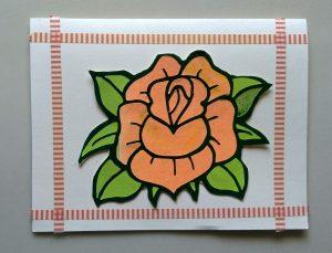 card I made with the orange rose I made