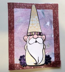 Gnome card made with marbled paper