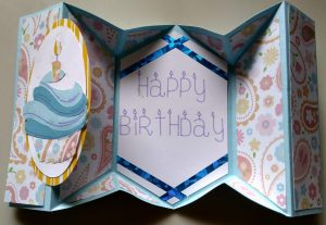 Inside view of 5 flod birthday card