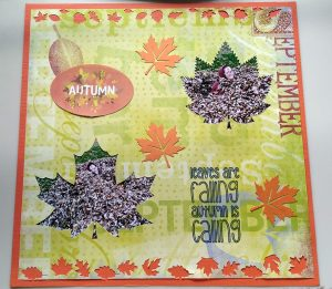 Fall Scrapbook Page of my daughter playing in the leaves
