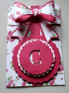 Pink Flowered Slider Present Birthday Card