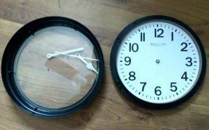 Clock taken apart