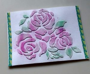 Rose card made with texture media