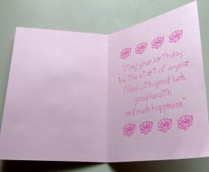 Open Rose Squares Birthday Card