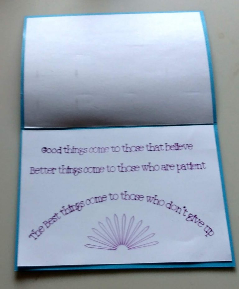 Inside the sun will come out tomorrow encouragement card
