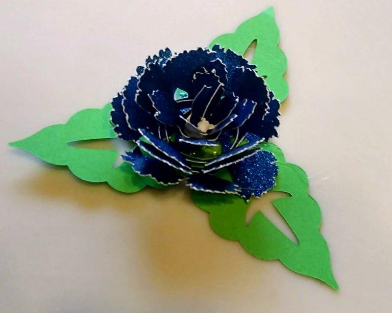 Blue Glitter paper Rolled Flower