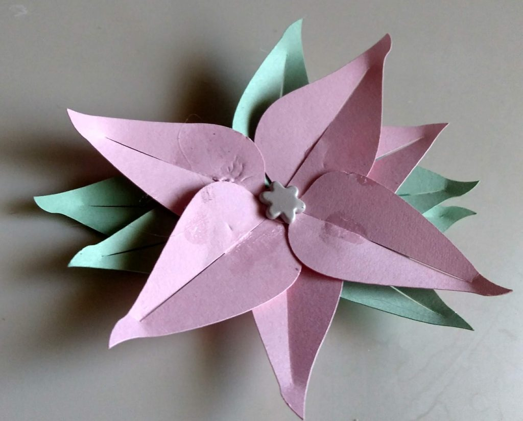 Pink Paper Christmas Poinsettia paper Flower
