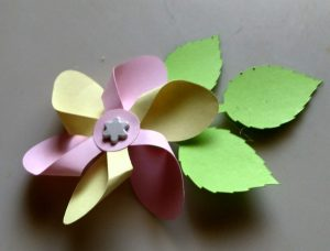 Pinwheel Flower with Leaves