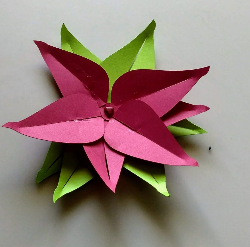 Red Paper Christmas Poinsettia paper flower