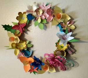 Flower wreath made from all the flowers made this week.