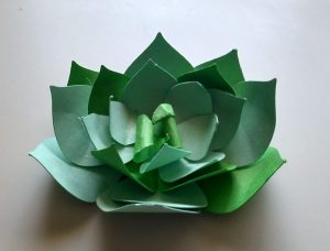 A green succulent plant made from paper