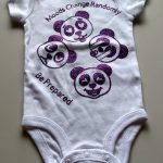 Panda Onesie in purple saying Moods change rapidly Be Prepared