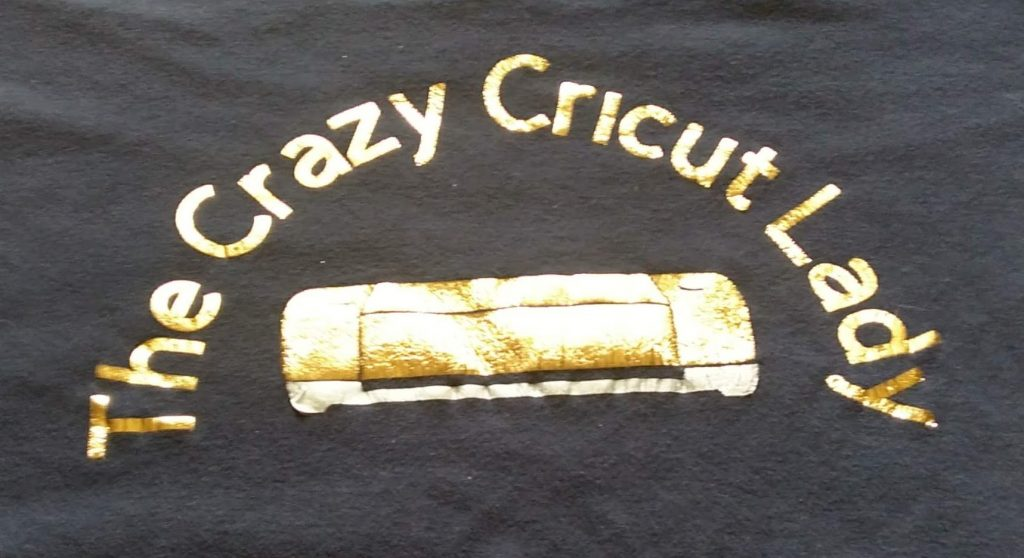 Crazy Cricut Lady Shirt using metallic HTV