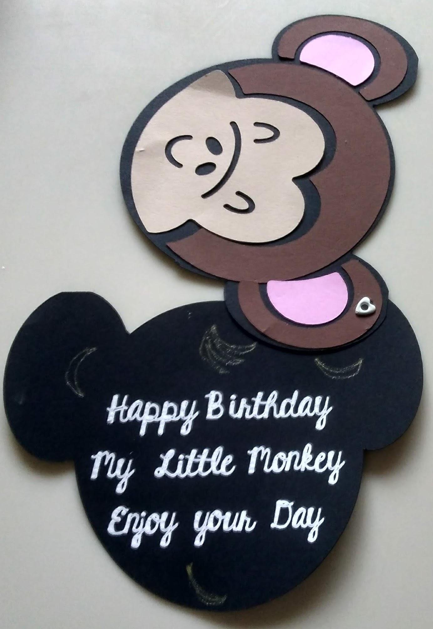 Monkey Birthday Card for Little Kids