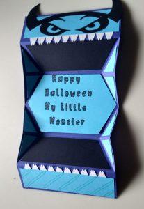 Open Halloween Boy Monster card