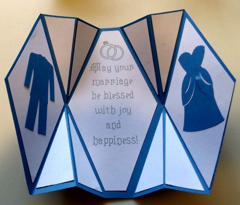Open Fancy Fold Wedding Card