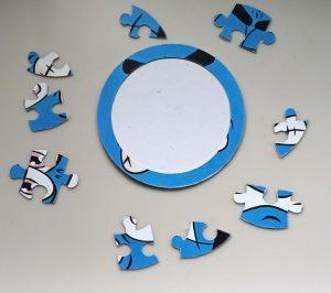Blue Halloween Puzzle taken apart