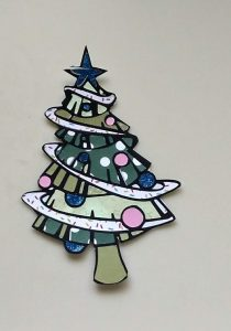 Coloring with paper Christmas Tree