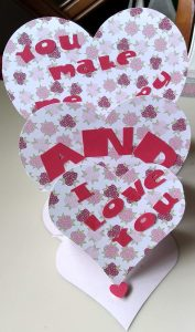 Triple Heart Easel Card standing up