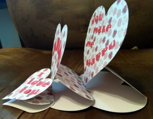 Side view of triple Heart Easel Card