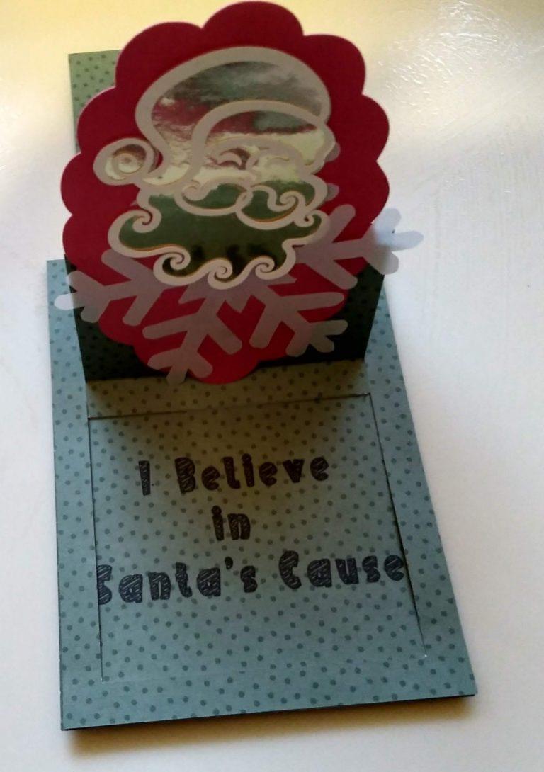 Santa Slider Easel Card open