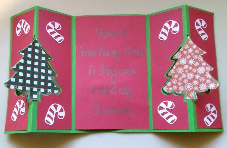 Double Flip Christmas Tree Card Open