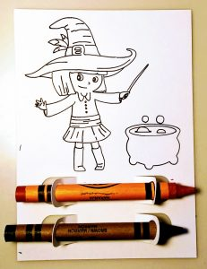 Witch Halloween Coloring Treat