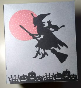 Witch on side 2 of Halloween tissue box cover