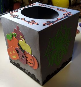 The Finished Halloween Tissue Box Cover