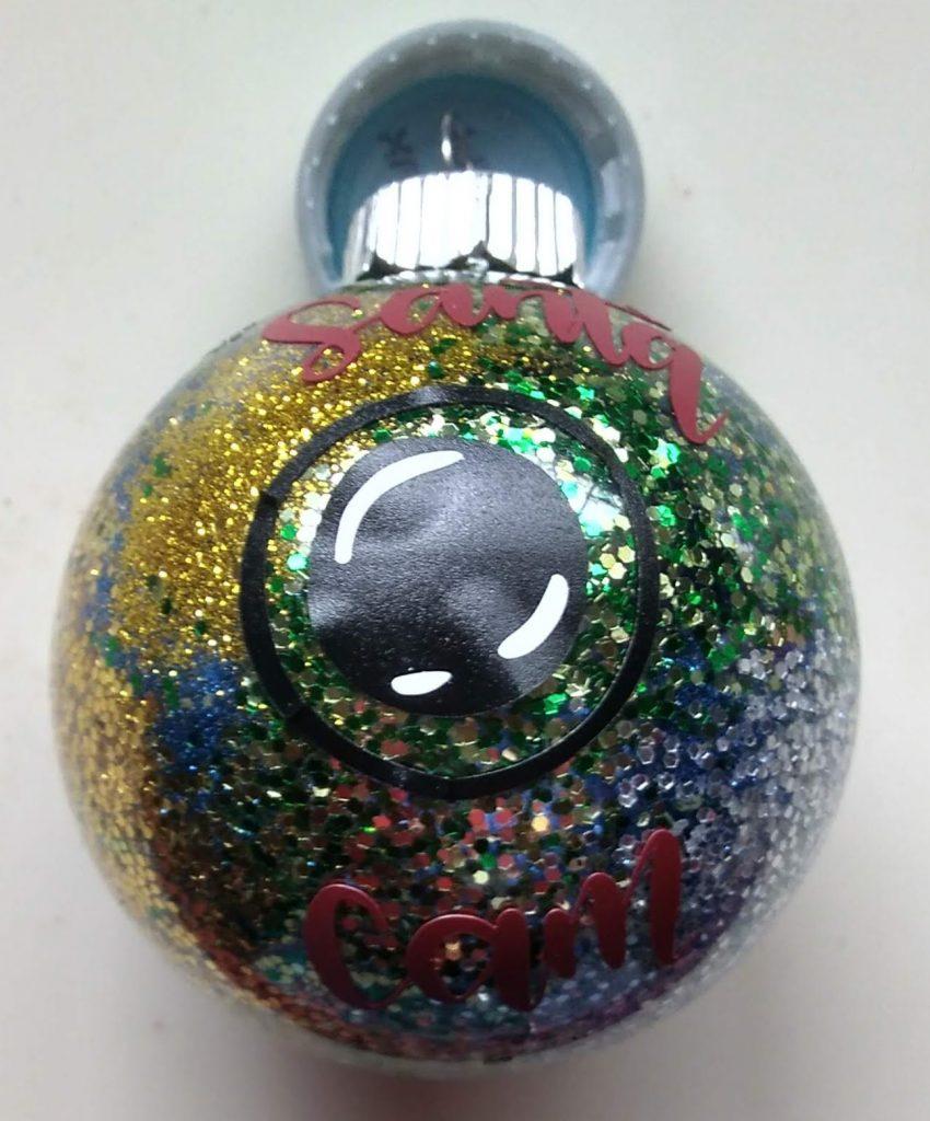 Multicolored Santa Cam Glitter Ornament