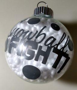 Snowball Fight Filled Bulb Ornament