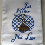Flour sack towel using layered vinyl