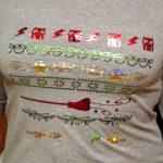 Cordelia wearing the Christmas Harry Potter Shirts