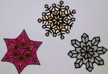 Snowflakes Coloring with Paper