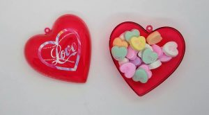 Medium Heart Treat box filled with candy hearts