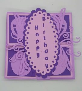 Square Twist Birthday Card closed with card band